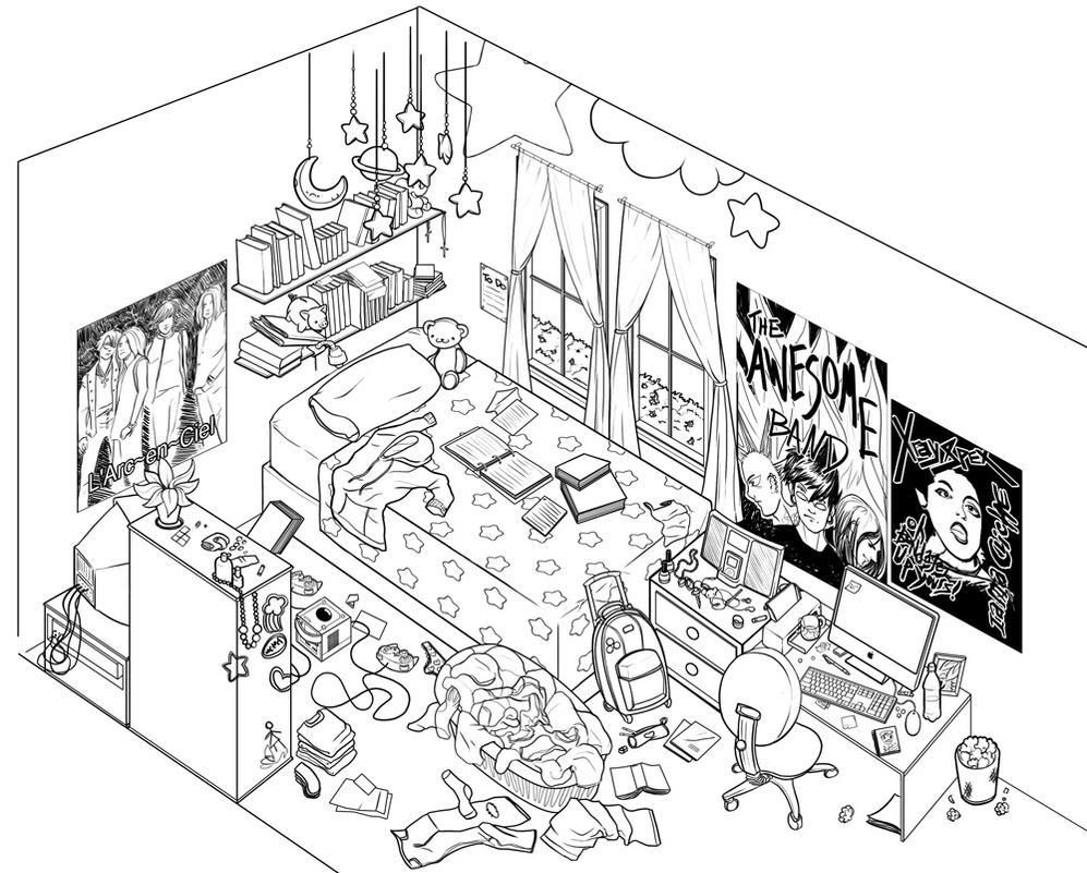 Kids Bedroom Drawing messy kids room drawing design | home design ideas