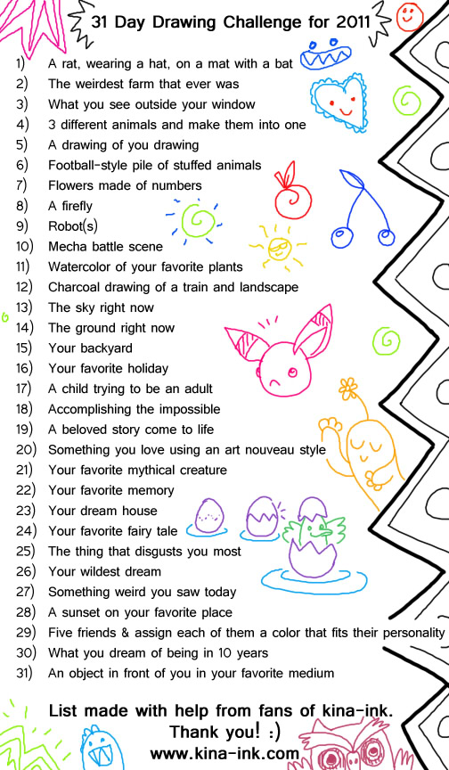 31 day drawing challenge by kina on deviantart for Drawing ideas list