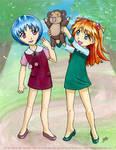 Rei and Asuka as Kiddies