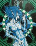Blue Haired Elf Girl Commish