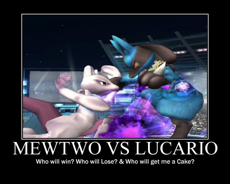Mewtwo vs Lucario by SonictheYoshi