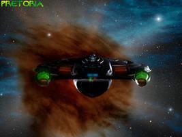 USS Pretoria-B into the nebula by AlleycatCY