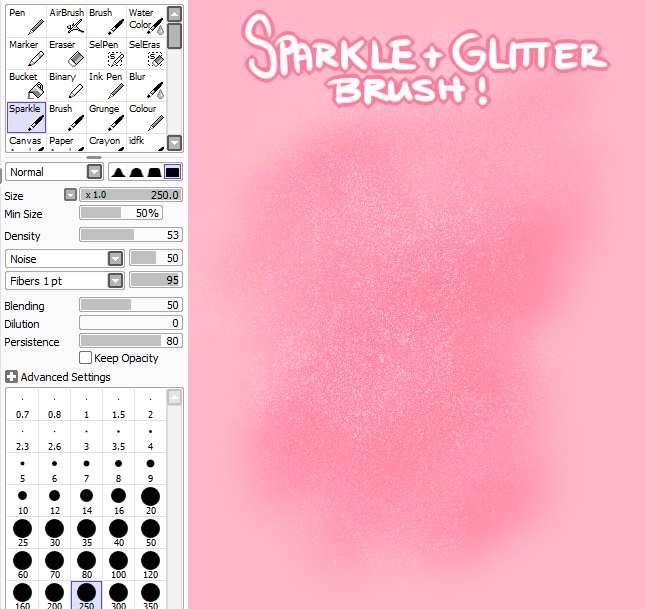 How To Draw Glitter Paint Tool Sai