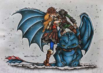 How to Train Your Dragon - Kiss by ShiroiNekosArt