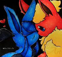 Pokemon Drawing - Flareon and Glaceon by ShiroiNekosArt