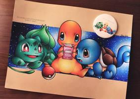 Pokemon, Starter (Bulbasaur, Charmander, Squirtle) by ShiroiNekosArt