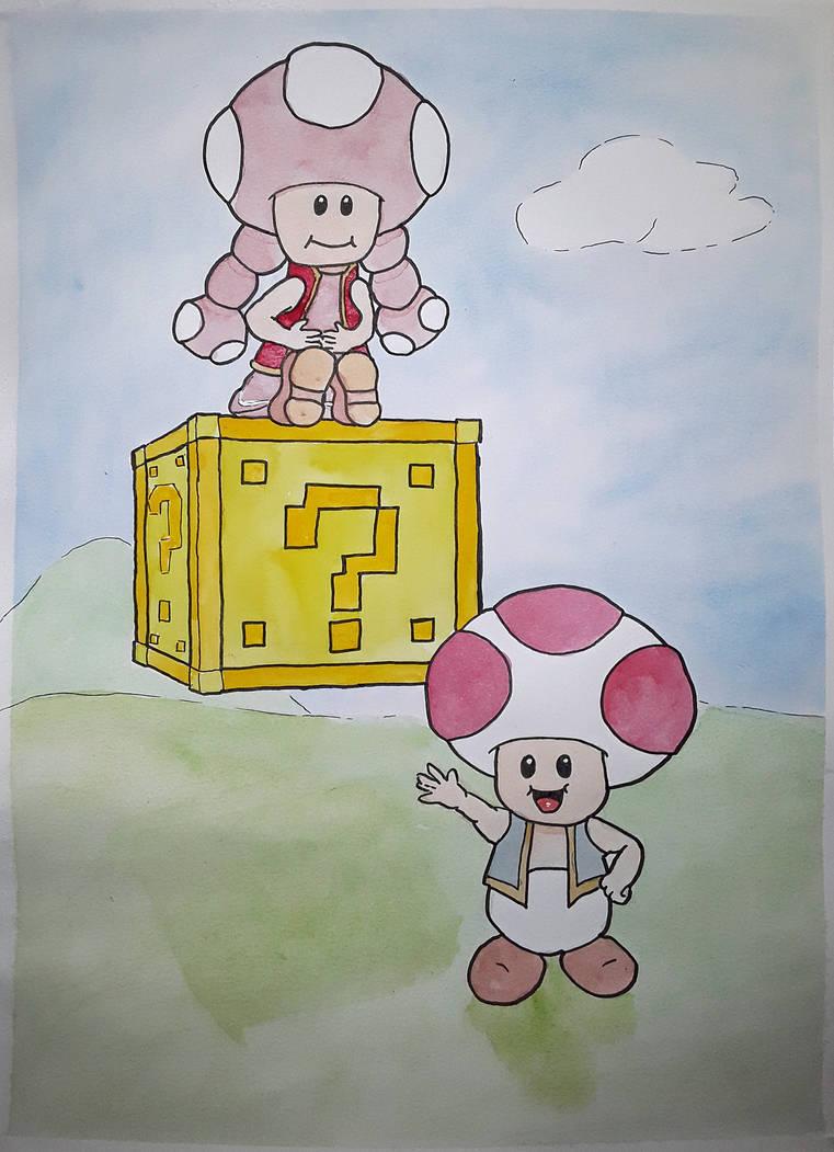 Toad and Toadette by Frakkle-art