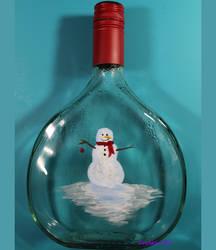 Painted Bottle Snowman