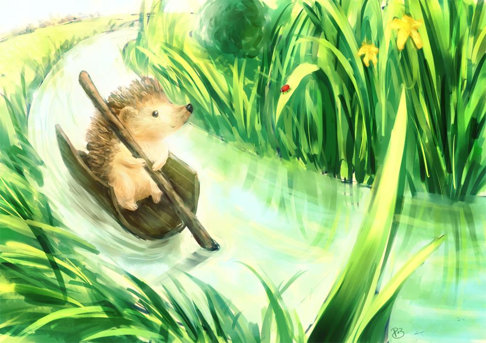 Hedgehog on a tiny river by Neesha