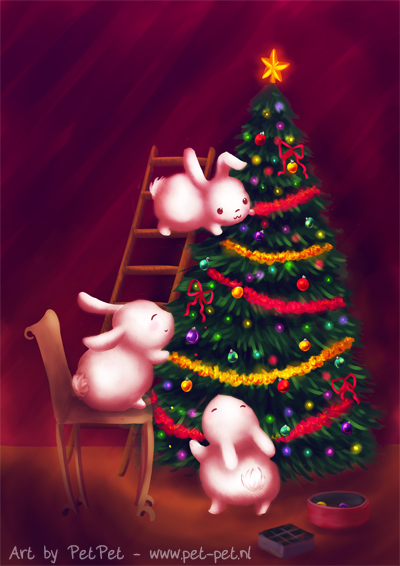 Chubby bunnies decorate the tree by Neesha