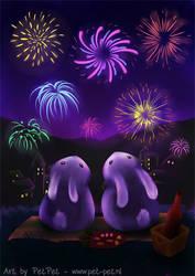 Chubby bunnies watch fireworks
