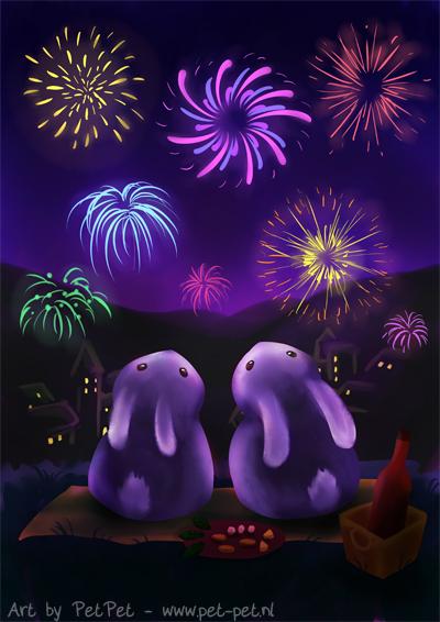 Chubby bunnies watch fireworks by Neesha
