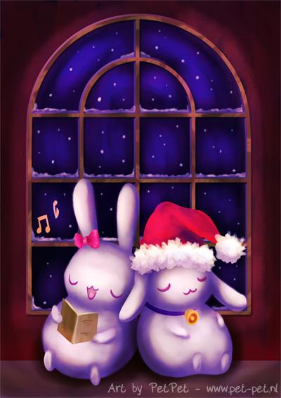 Chubby bunnies on christmas night by Neesha
