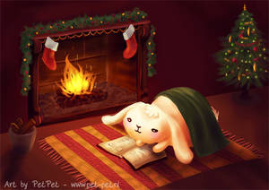 Chubby bunny by the fireplace