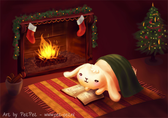 Chubby bunny by the fireplace by Neesha