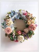Handcrafted Shabby Chic Clay Wreath  by ElianeTanassi