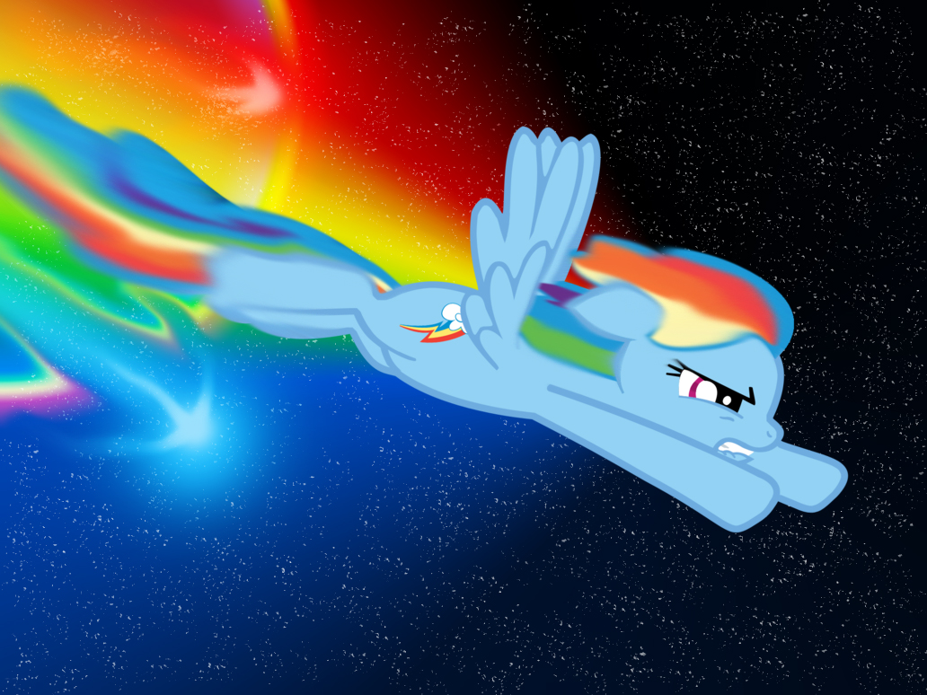 Rainbow Dash Through Space w/ a sonic rainboom by ...