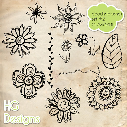 Doodle Photoshop Brushes by HGGraphicDesigns