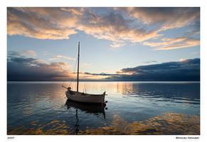 Boat at sunset 3 by Maciej-Koniuszy