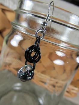 Black glass drop earrings