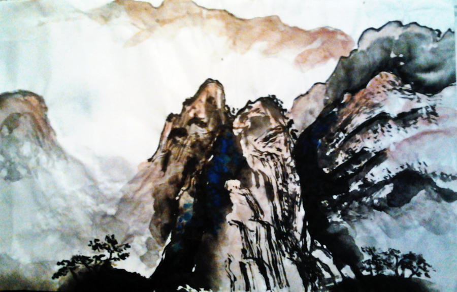 Chinese Brush Painting Mountain By LeeHenrik