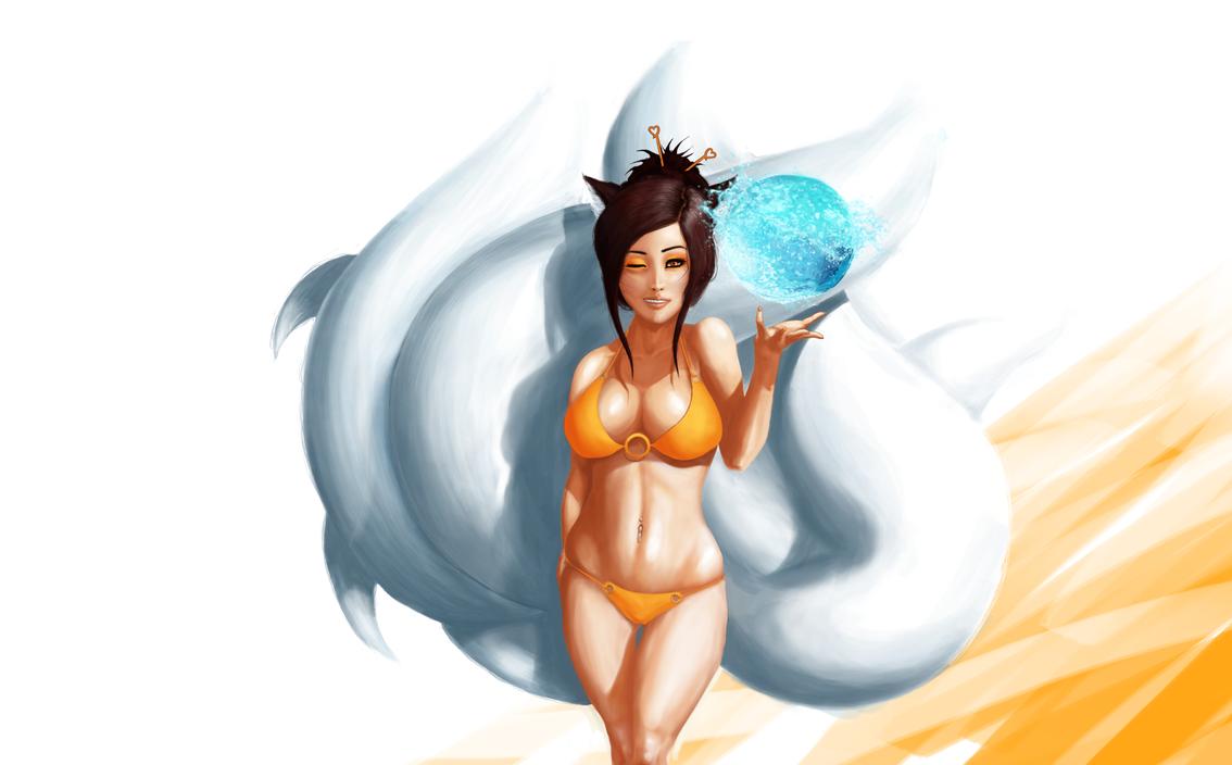 Pool Party Ahri Fan-Art by KobashiHD