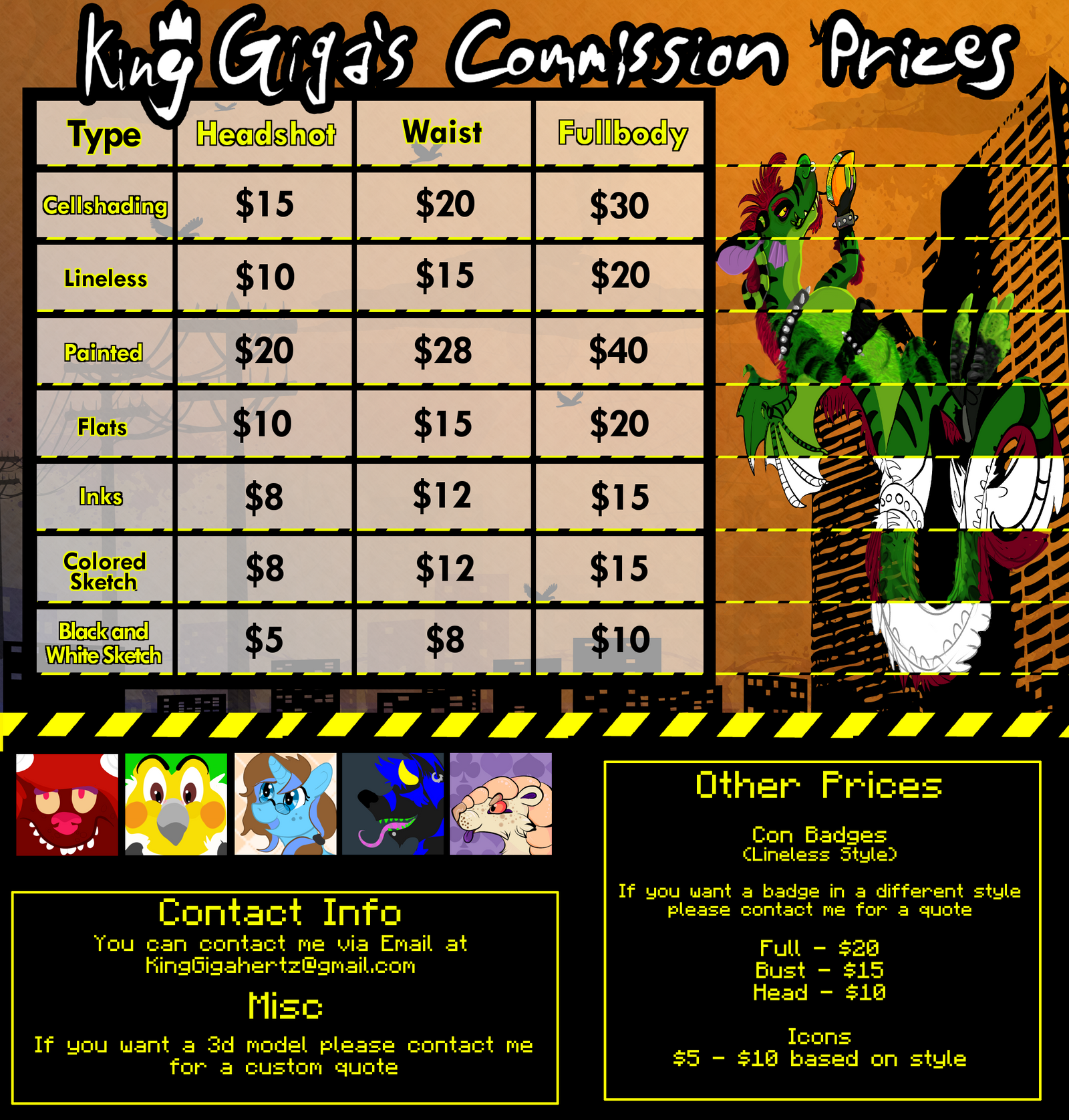 Official 2014 Commission Price Sheet by KingGigabyte