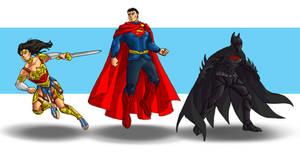 Batman, Superman, Wonder Woman redesigns