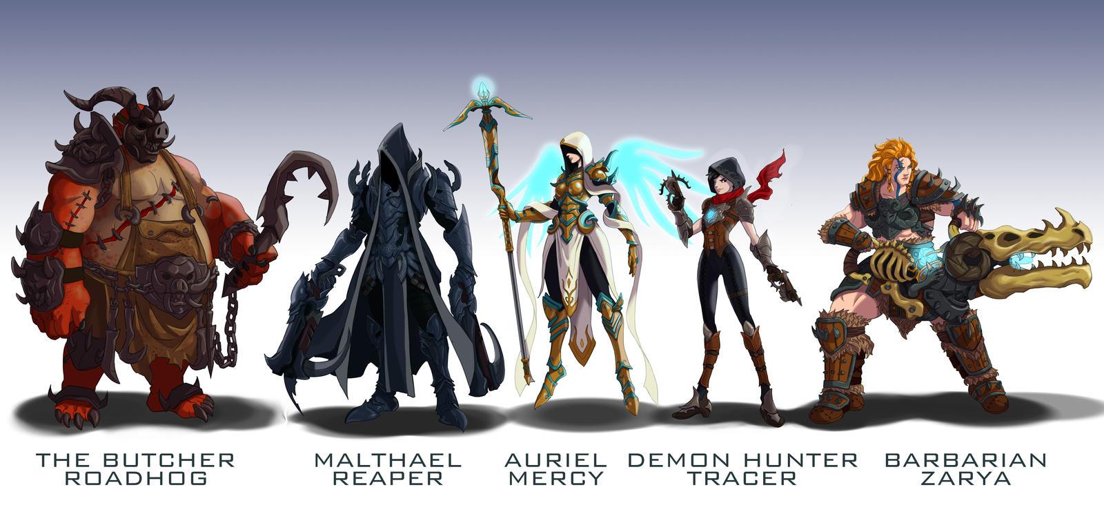 Overwatch Blizzard mashup skins 2 by wildcard24