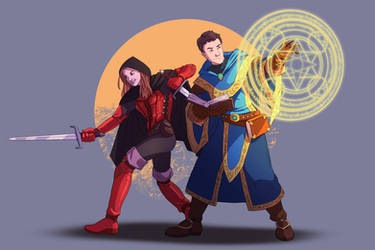 DnD Rogue and Mage couple by wildcard24