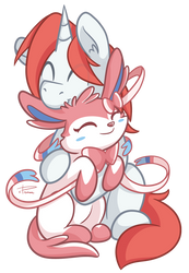 Sylveon Pony Cuddle by CrownePrince