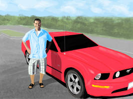 Cousin Donald With His Mustang