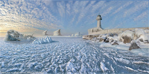 Mat Painting of Iced Light House