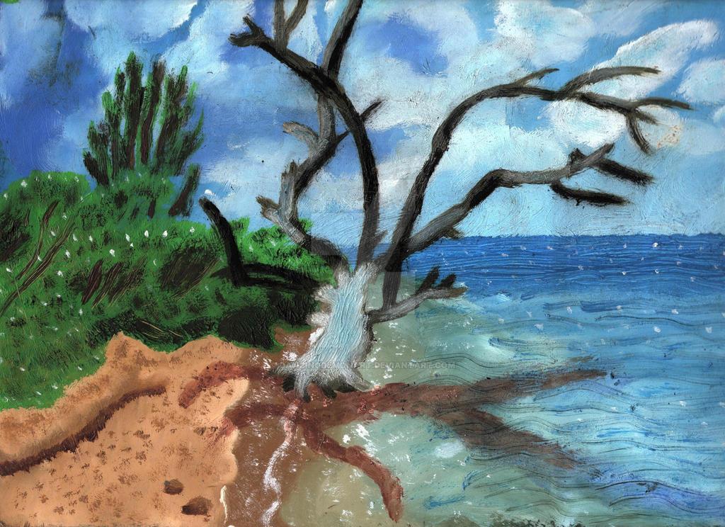 Dark Tree On A Beach by DancingDemonArt