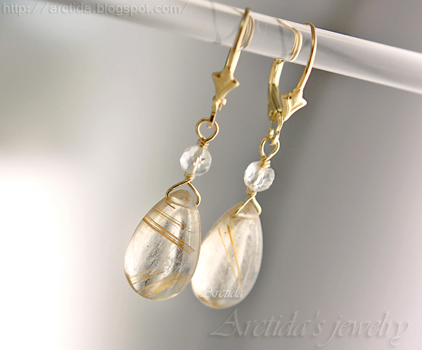 Venus hair golden rutilated quartz earrings by arctida for Golden rutilated quartz jewelry