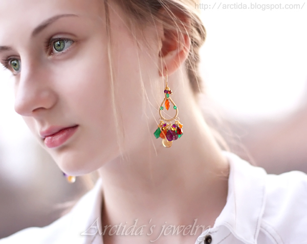 *Oksana* Multi gemstones earrings by Arctida
