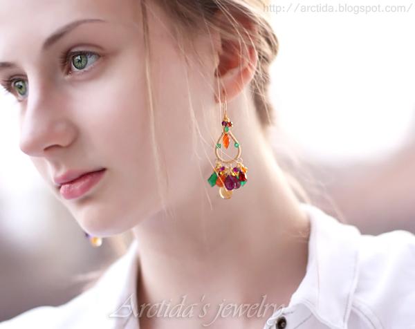 *Oksana* Multi gemstones earrings by Arctida