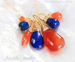 *Lyrelle* Carnelian and Lapis lazuli necklace