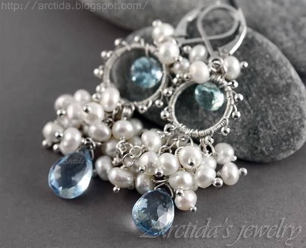 *Melite* Aquamarine blue Topaz bridal earrings by Arctida