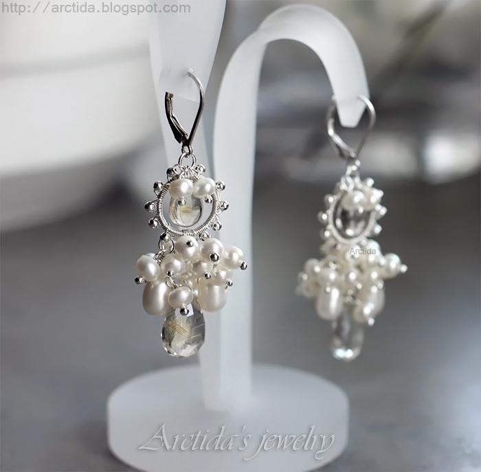 *Melite* Golden Rutilated Quartz pearls earrings by Arctida