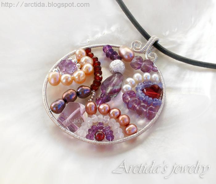 Mosaics necklace purple gemstones by Arctida