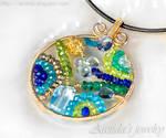 Mosaics necklace blue green gemstones