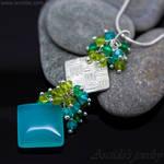 *Velina* square gemstone pendant