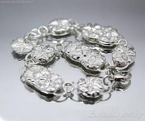 Flower Bracelet fine silver