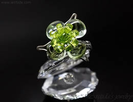 Prasiolite Peridot gemstone flower ring