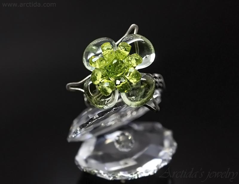 Prasiolite Peridot gemstone flower ring