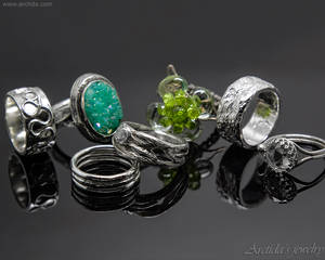 Handmade sterling silver rings inspired by nature