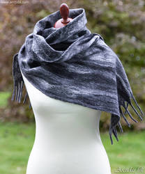 Merino wool scarf Ombre felt scarf with fringes