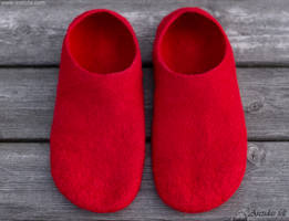 Handmade Red cashmere felted wool socks