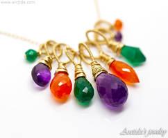 *Lucinda* Amethyst Carnelian Agate gold necklace